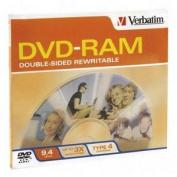 Type 4 Double-Sided DVD-RAM Cartridge, 9.4GB, 3x