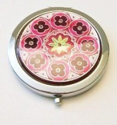 Burgundy Flowers Make-up Round Compact Mirror