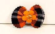 Jo-ann's Autumn Plaid Bows (15) Flower Centre with Crystal,orange/black Plaid