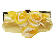Gold Rose Satin Evening Bag