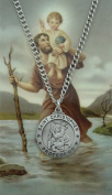 ST Christopher Prayer Card Set includes 1.9cm Round Pewter St Christopher Medal, 60cm Nickel Chain & Laminated Holy Card