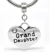 """"""" Grand Daughter Heart Dangle Charm """" W/crystal Stone Antique'd Silver Bead Charm Spacer Pandora Troll Chamilia Biagi Bead Compatible"""