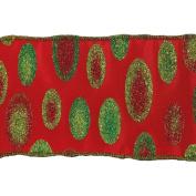 Vickerman 78070cm - 6.4cm x 10yd Red / Green Dots Ribbon