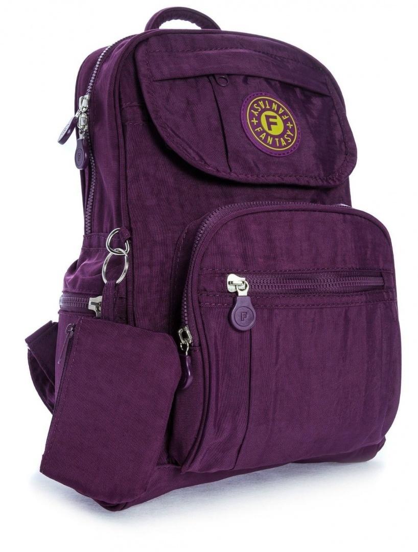 (Deep Purple) - Big Handbag Shop Unisex Lightweight Small Fabric Backpack Bag. H