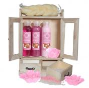 Brubaker Cosmetics 10 Pcs Beauty Gift Set Women Wooden Cabinet Strawberry