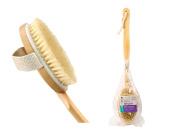 "Premium 17"" Long 2 in 1 Detachable Natural Bristle Wooden Handle Bath Brush"
