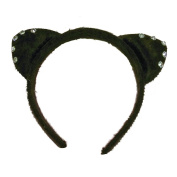 BLACK KITTY CAT EARS WITH DIAMANTES FANCY DRESS UP HEN NIGHT