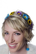KryptiK Women's Purple/Blue and Yellow Braided Headband