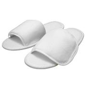Terry Nylon Fabric Fastening Open Toe Unisex Slippers White