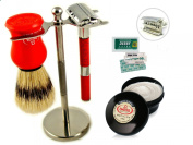 Shaving kit with Brush and Double edge razor set + Vintage Mens grooming Kit Classic razor brush stand and safety razor stand brush and soap shaving set Shaving kits brush bowl and razor for thick beard Head shave razor Razor for Sensitive Skin Omega S ..