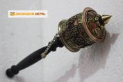 25cm Tibetan Buddhist Om Mani Handmade Copper Hand Prayer Wheel - Very Artistic Auspicious 8 Lucky Symbols