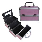 BerucciTM Professional Pink 20cm Lightweight Aluminium Makeup Artist Organiser Kit with 2 Extendable Trays, Aluminium Trimming, Lock and Keys, and Mirror