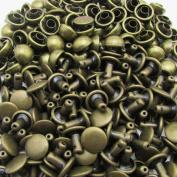 Amanteao Bronze Double Cap Rivets Mushroom Cap 5mm and Post 5mm Pack of 200 Sets