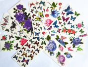 10pcs/package hot selling temporary tattoo stickers various designs including purple peony/blue and red roses/colourful flowers and butterflies/red lips/etc.
