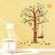 Decowall, DM-1401, 5 Little Monkeys Tree Wall Stickers