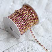 9.1m/ 10 Yards Fuchsia Hot Pink Australia Rhinestone Chain Crystal Gold SS16 4mm Wedding Cake Decoration Brooch Bouquet Supply RC032