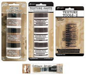 Ranger - Tim Holtz - 6 Mini-Size Collage & Texture Pastes with Tools Bundle