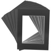 Mat Board Centre Crescent 11x14 Black Picture Mat Sets for 8x10 Photo. Includes a Pack of 25 White Core Bevel Pre-cut White Core Matte & 25 Backing Board & 25 Clear Bags