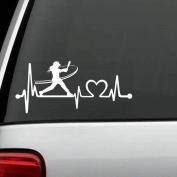 K1072 Softball Girl Batting Heartbeat Lifeline Decal Sticker