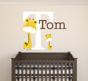 Custom Giraffes Name Wall Decal Baby Room Decor Nursery monogram Wall Decal Vinyl Sticker