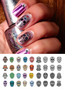 Sugar Skull Nail Art Day of the Dead Decals Assortment #4 - Featured in Rachael Ray Magazine October 2014!