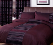 Just Contempo Striped Duvet Cover Set, Single, Purple