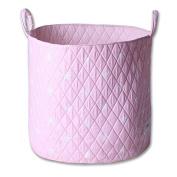 Minene Storage Basket , Round Storage Baskets, Large Fabric Storage Basket - Great for Toy Storage, kids Storage and As A Laundry Hamper Pink Star