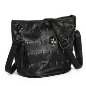 OURBAG PU leather Skull Studs Punk Goth Tassels Messenger Shoulder Tote Handbag Bag