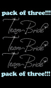 3 x Team Bride clear rhinestone iron-on Hotfix transfer bling DIY- Lot of 3!!