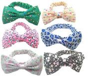 Girls Floral Printing Bow Hair Hoops Headbands Elastic Hair Band Set Hair Accessory