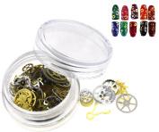 Steampunk Gear Wheel Parts Nail Art Glitter Gold Metal Slice Mixed Design